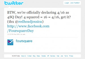 foursq tweet 300x210 Foursquare Day   What Is It and How Can Your Business Benefit?